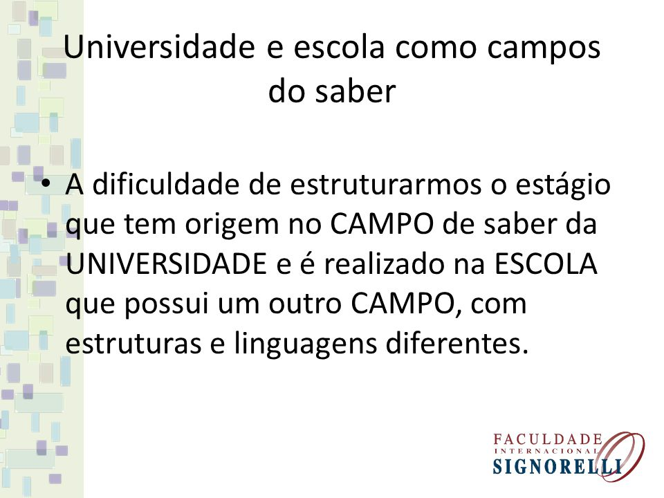 Universidade e escola como campos do saber