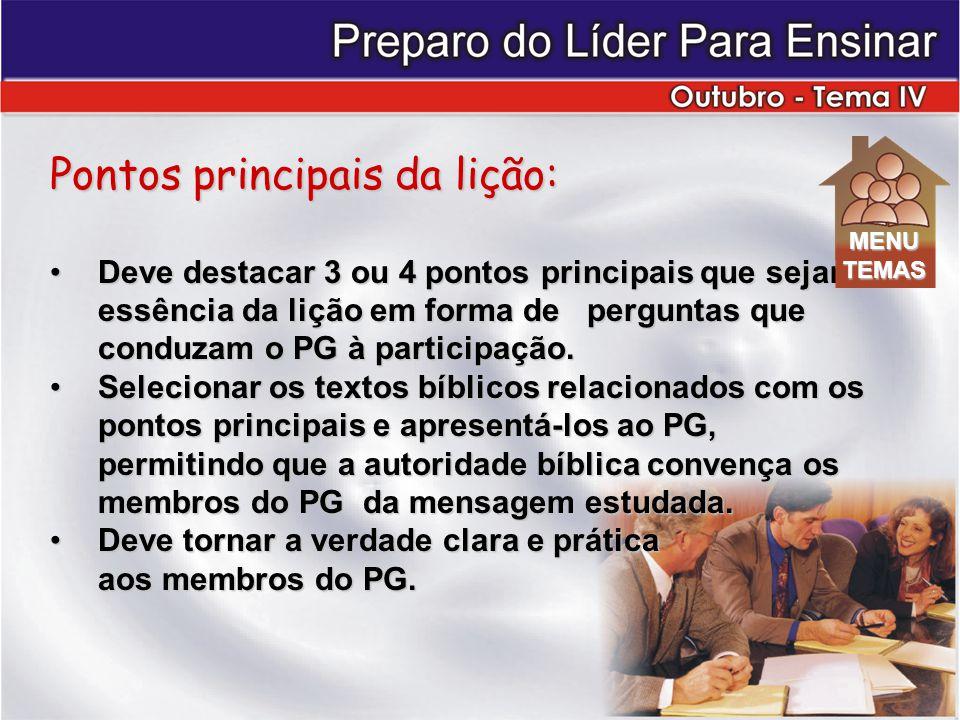 Pontos principais da lição: