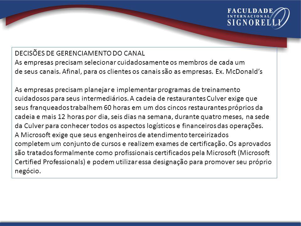 DECISÕES DE GERENCIAMENTO DO CANAL