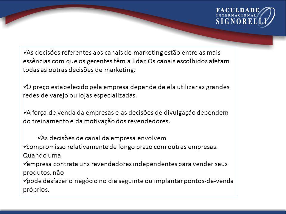 As decisões referentes aos canais de marketing estão entre as mais essências com que os gerentes têm a lidar. Os canais escolhidos afetam todas as outras decisões de marketing.
