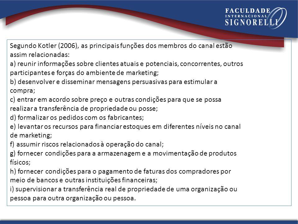 Segundo Kotler (2006), as principais funções dos membros do canal estão