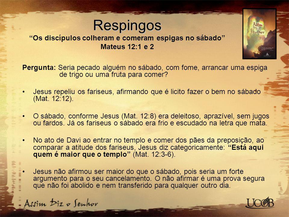 Respingos Os discípulos colheram e comeram espigas no sábado Mateus 12:1 e 2