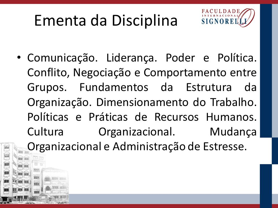 Ementa da Disciplina