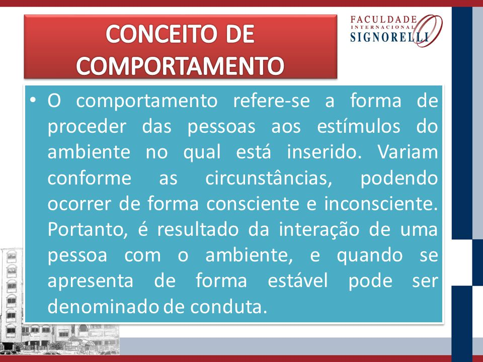 CONCEITO DE COMPORTAMENTO
