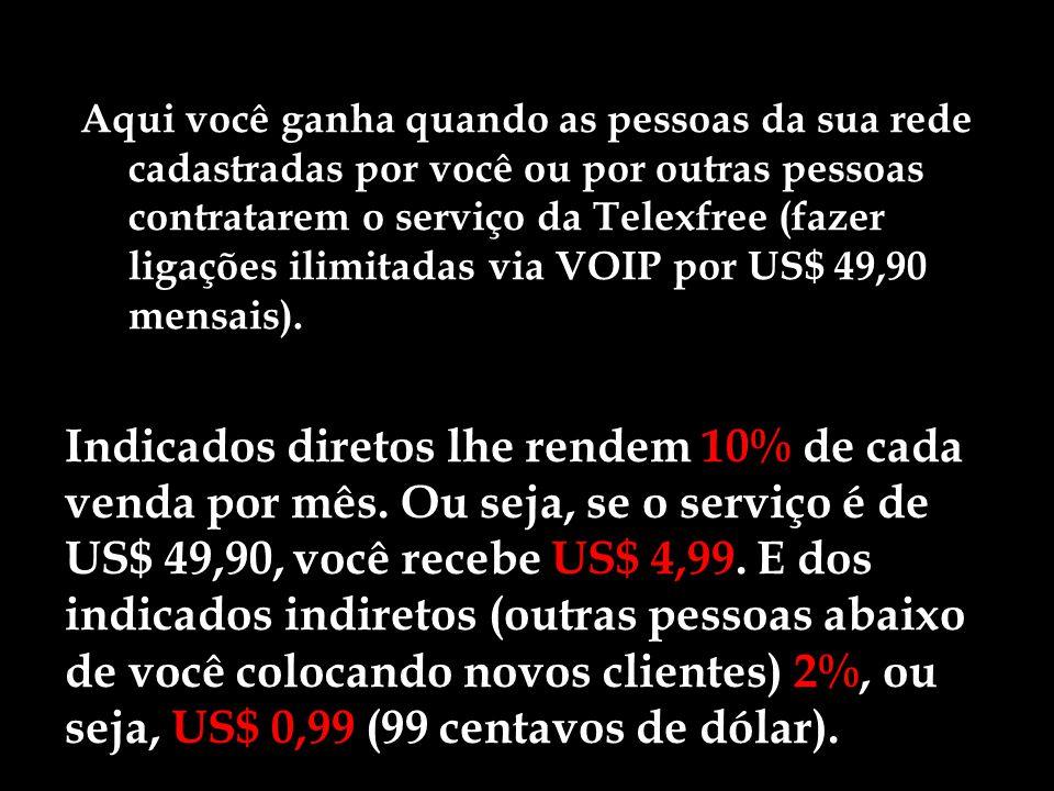 Aqui você ganha quando as pessoas da sua rede cadastradas por você ou por outras pessoas contratarem o serviço da Telexfree (fazer ligações ilimitadas via VOIP por US$ 49,90 mensais).