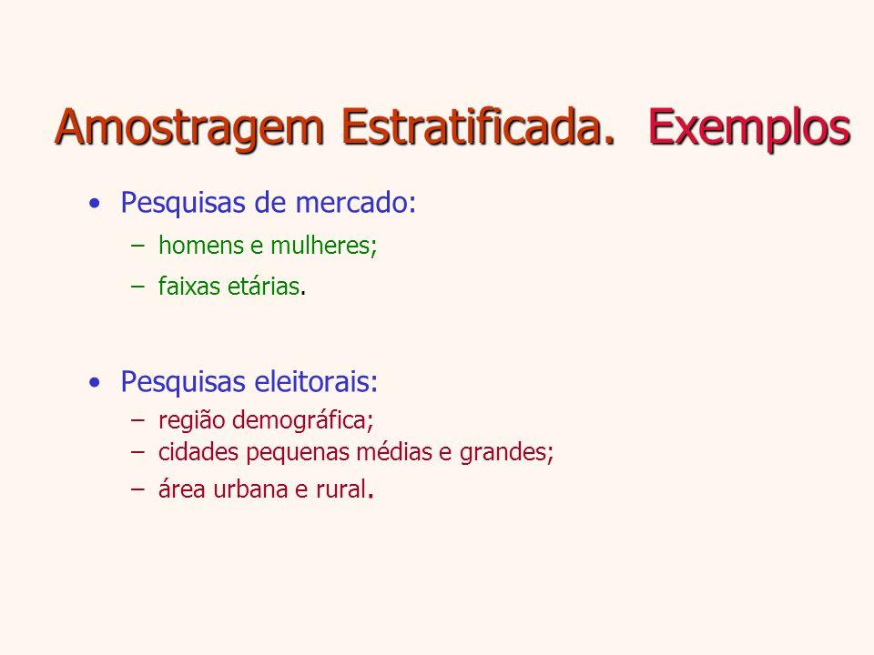 Amostragem Estratificada. Exemplos