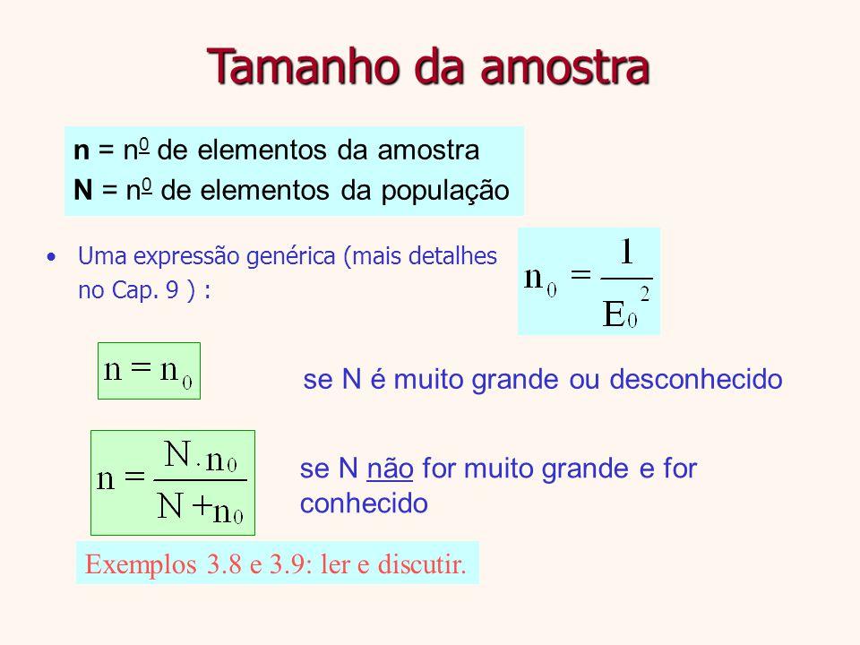 Tamanho da amostra n = n0 de elementos da amostra