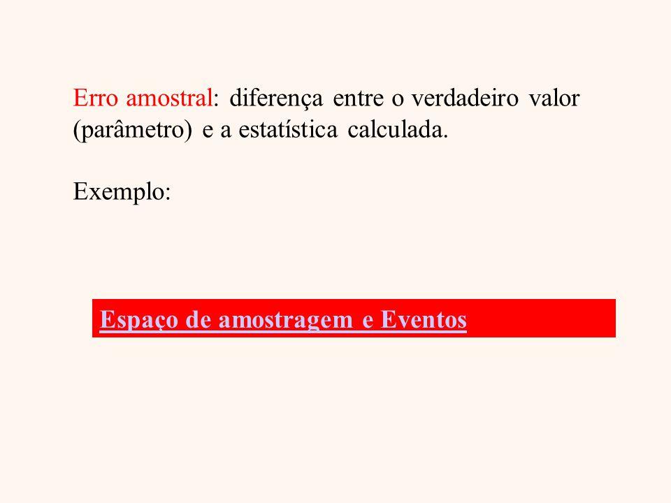 Erro amostral: diferença entre o verdadeiro valor
