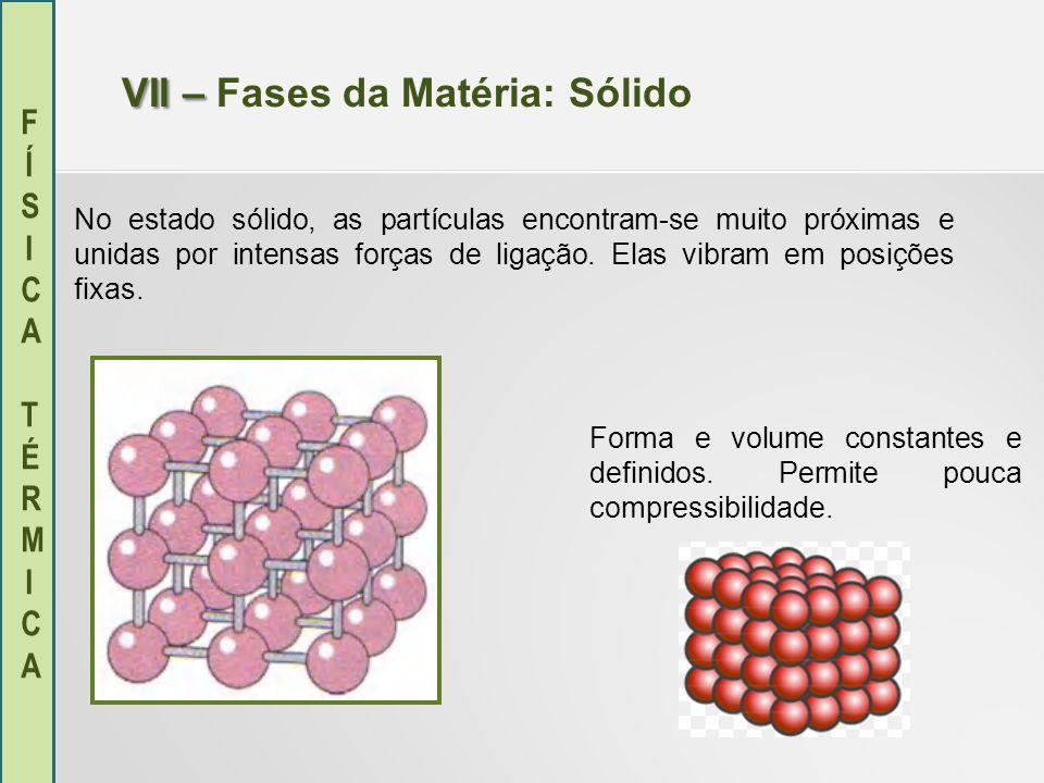 VII – Fases da Matéria: Sólido