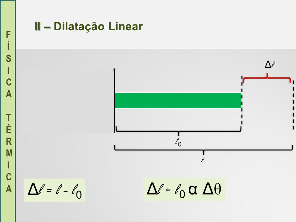 II – Dilatação Linear Δl l0 l Δl = l - l0 Δl = l0 α Δθ