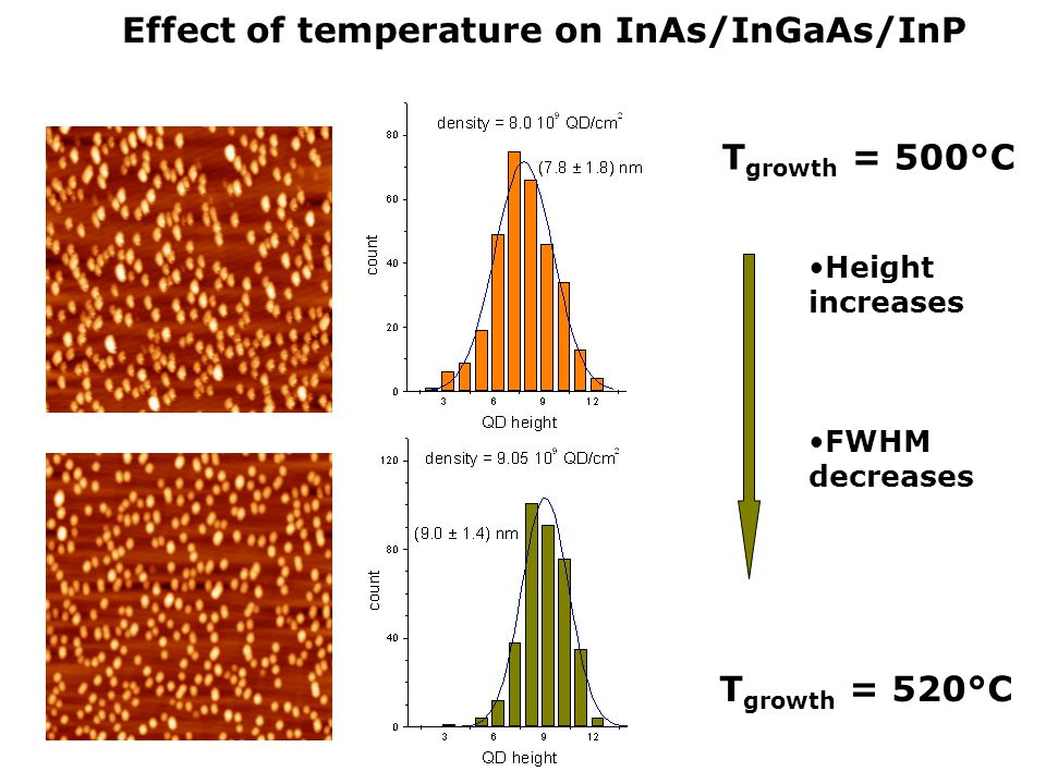 Effect of temperature on InAs/InGaAs/InP