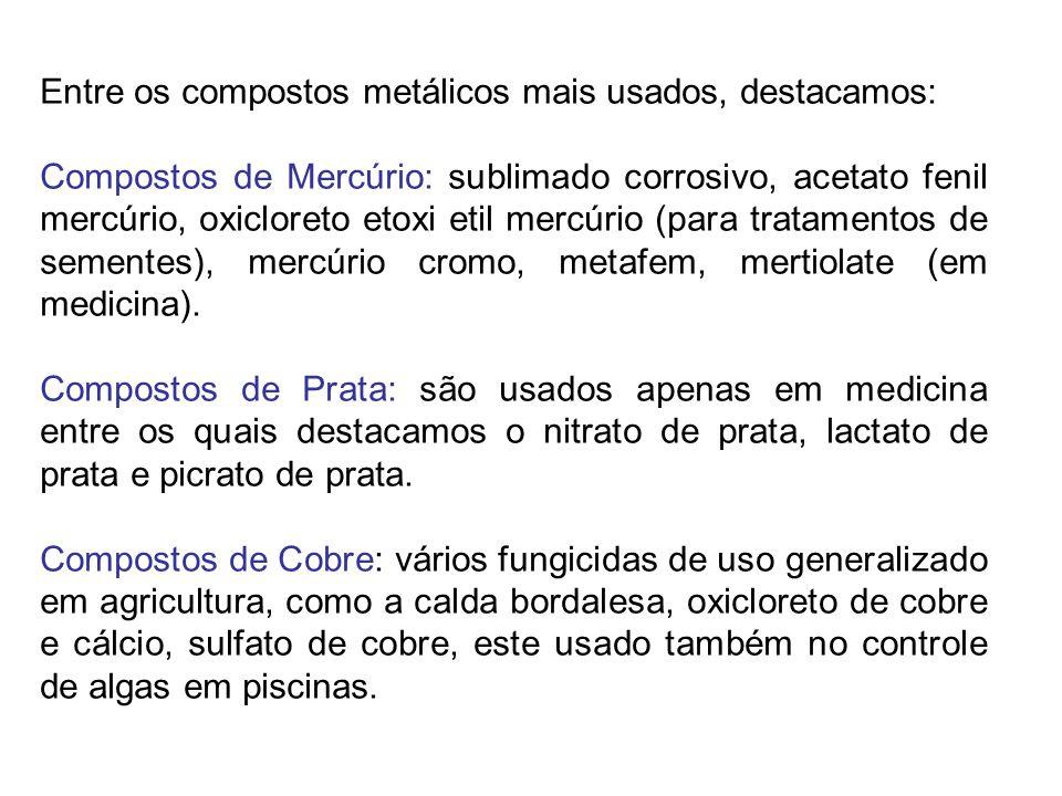 Entre os compostos metálicos mais usados, destacamos: