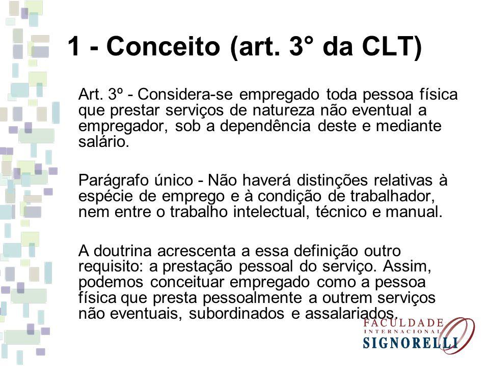 1 - Conceito (art. 3° da CLT)