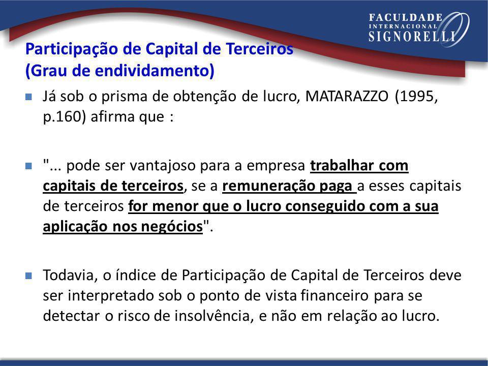 Participação de Capital de Terceiros (Grau de endividamento)