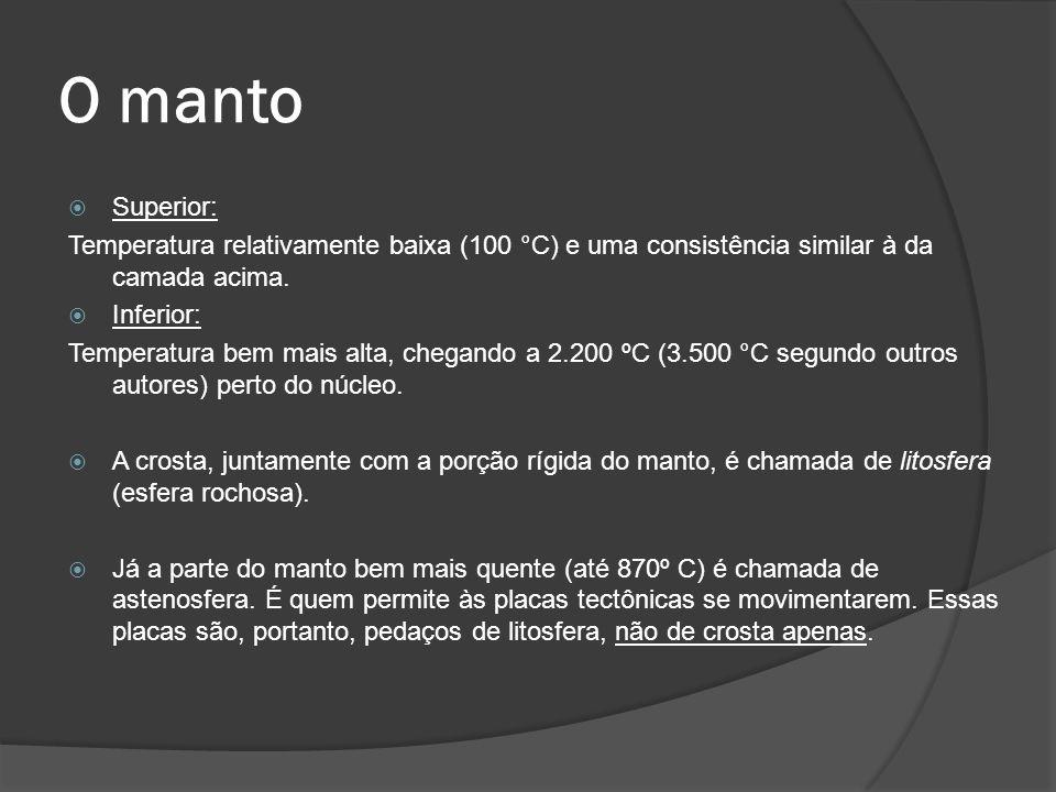 O manto Superior: Temperatura relativamente baixa (100 °C) e uma consistência similar à da camada acima.
