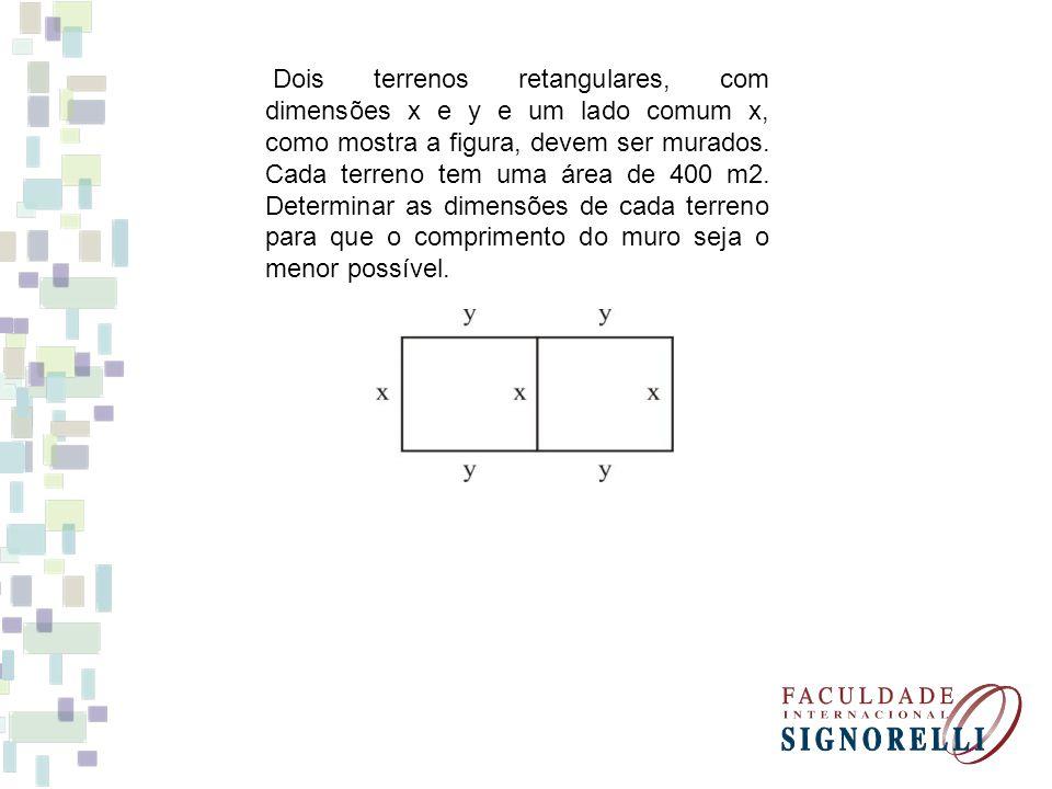 Dois terrenos retangulares, com dimensões x e y e um lado comum x, como mostra a figura, devem ser murados.