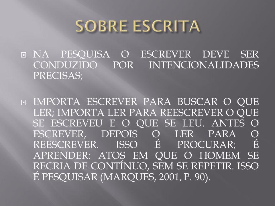 SOBRE ESCRITA NA PESQUISA O ESCREVER DEVE SER CONDUZIDO POR INTENCIONALIDADES PRECISAS;