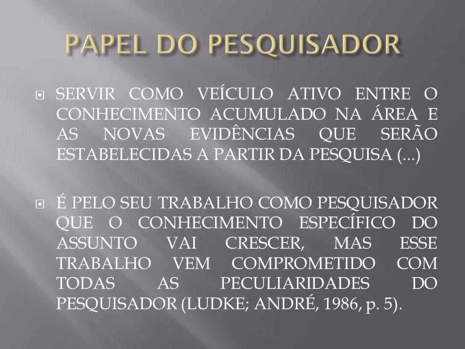 PAPEL DO PESQUISADOR