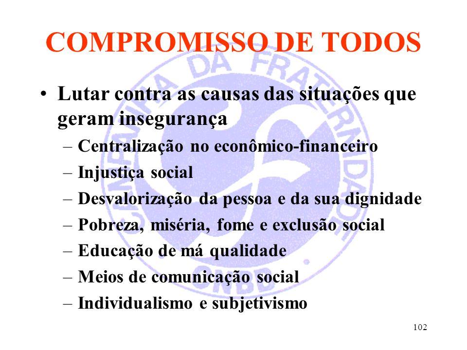 COMPROMISSO DE TODOS Lutar contra as causas das situações que geram insegurança. Centralização no econômico-financeiro.