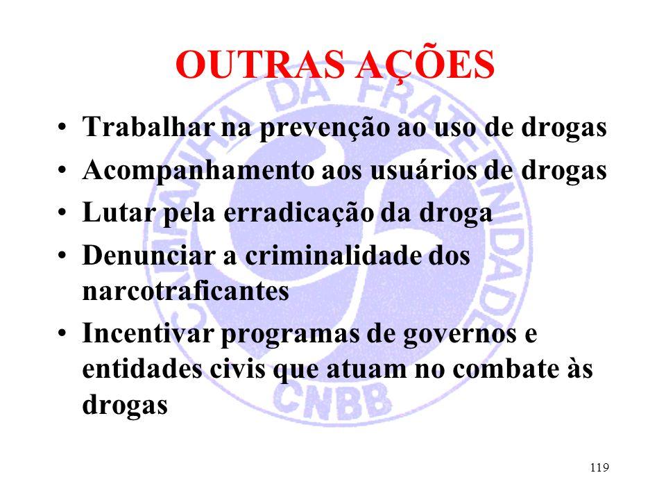 OUTRAS AÇÕES Trabalhar na prevenção ao uso de drogas