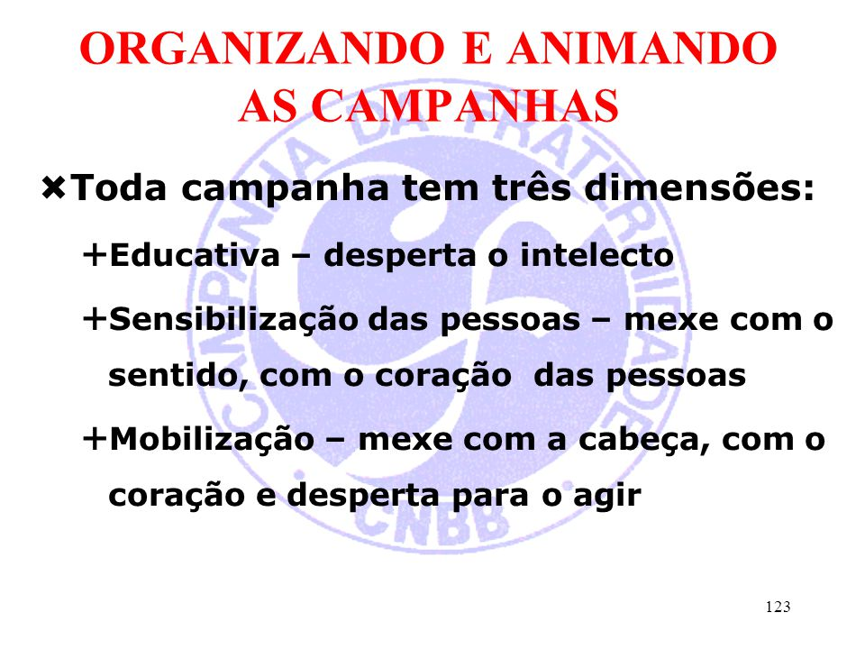ORGANIZANDO E ANIMANDO AS CAMPANHAS
