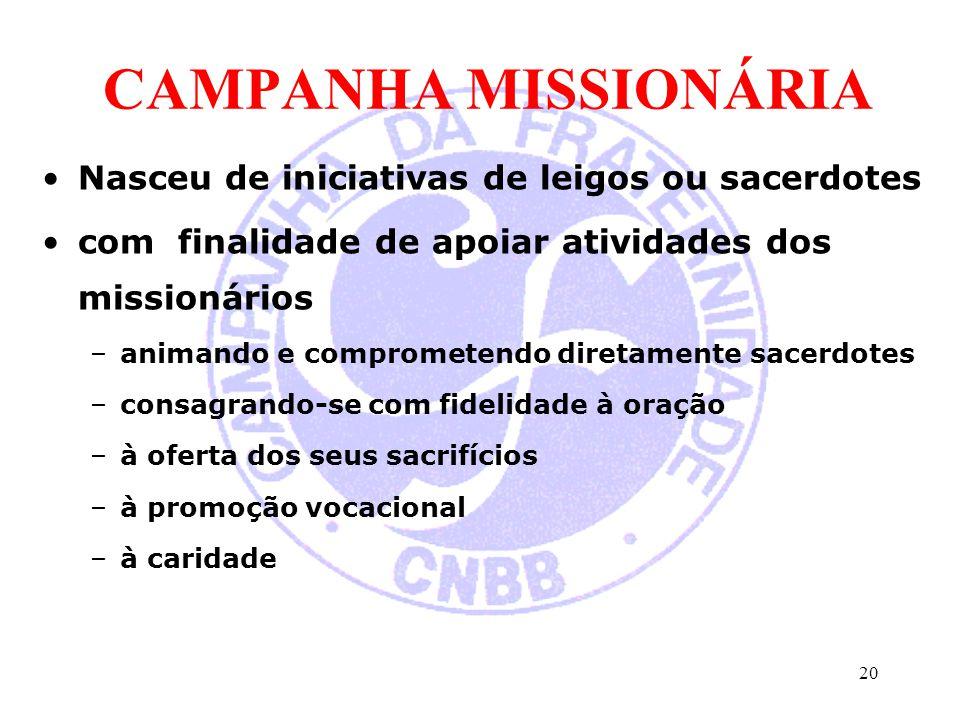 CAMPANHA MISSIONÁRIA Nasceu de iniciativas de leigos ou sacerdotes