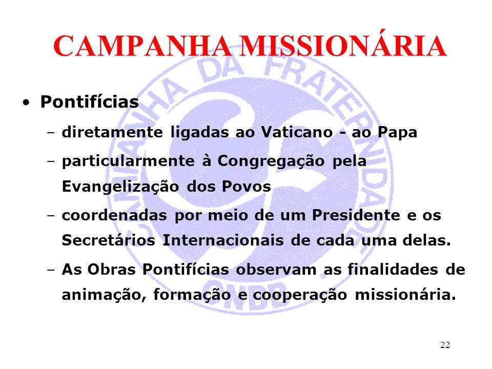 CAMPANHA MISSIONÁRIA Pontifícias