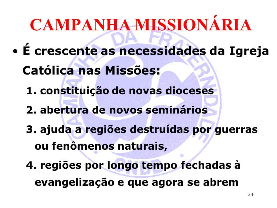 CAMPANHA MISSIONÁRIA É crescente as necessidades da Igreja Católica nas Missões: 1. constituição de novas dioceses.