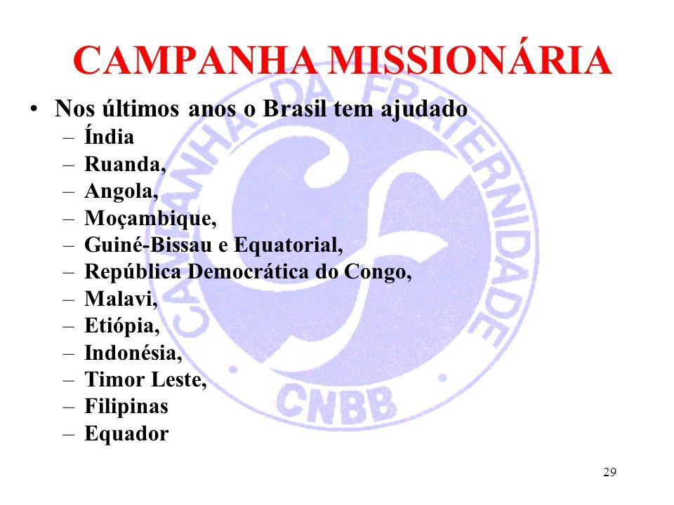 CAMPANHA MISSIONÁRIA Nos últimos anos o Brasil tem ajudado Índia