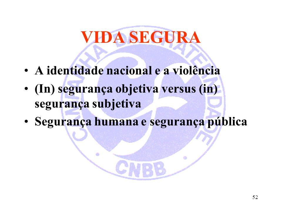 VIDA SEGURA A identidade nacional e a violência