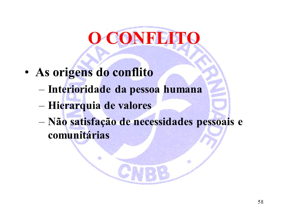O CONFLITO As origens do conflito Interioridade da pessoa humana