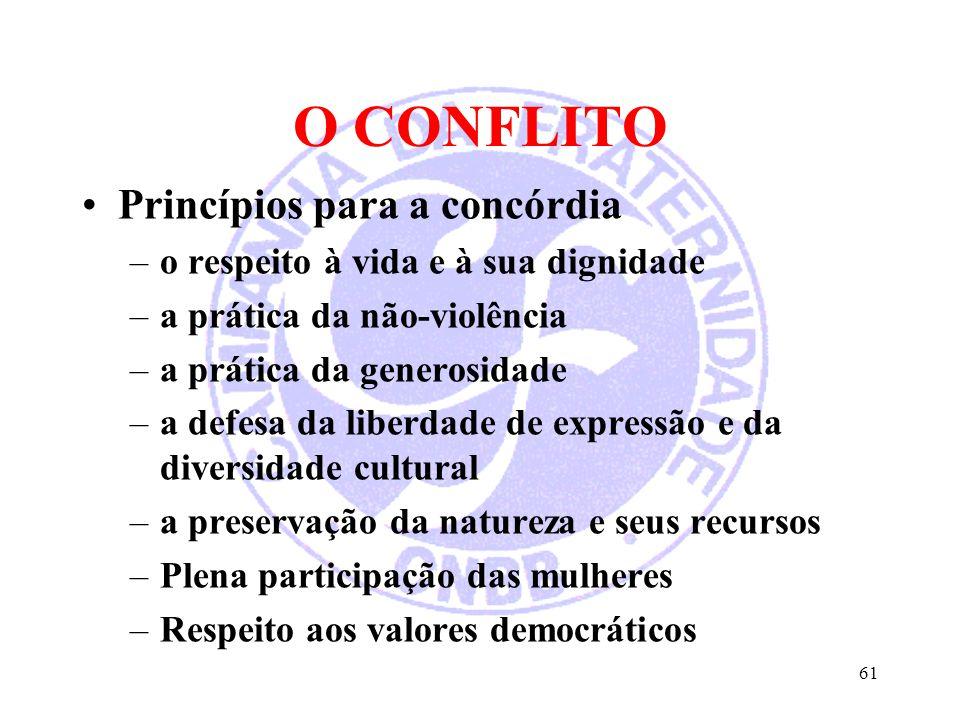 O CONFLITO Princípios para a concórdia