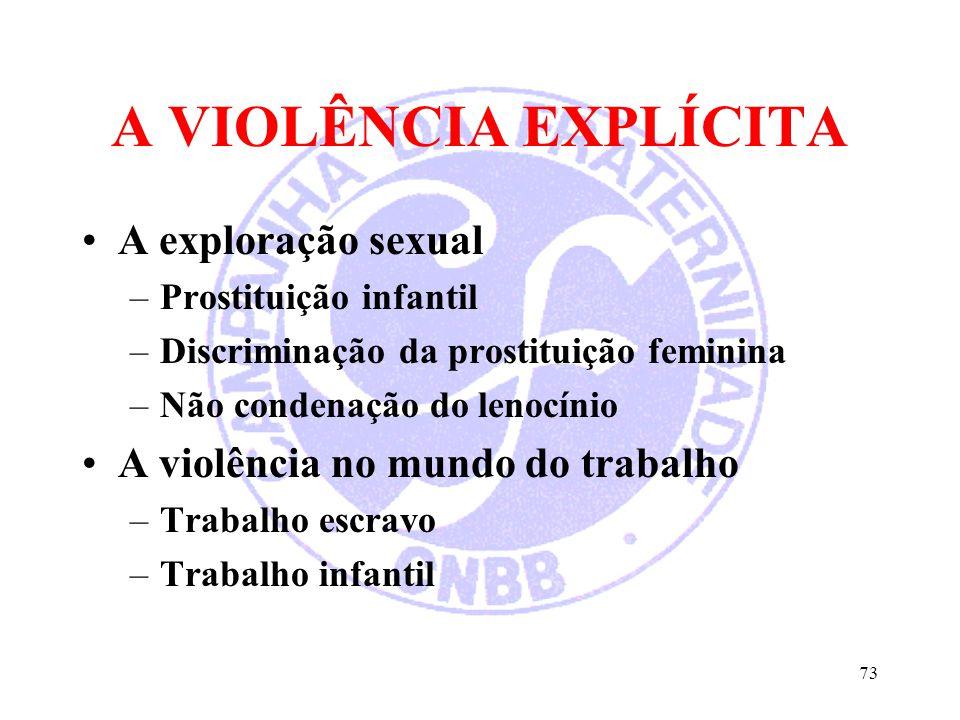 A VIOLÊNCIA EXPLÍCITA A exploração sexual