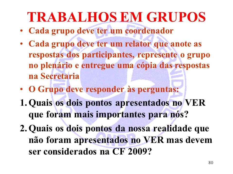 TRABALHOS EM GRUPOS Cada grupo deve ter um coordenador.