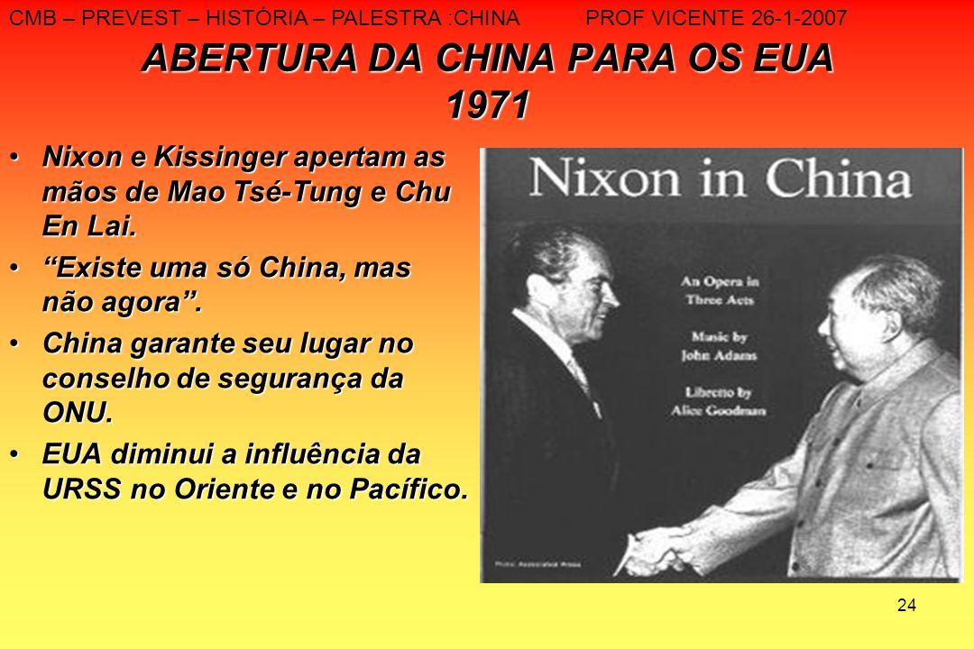 ABERTURA DA CHINA PARA OS EUA 1971