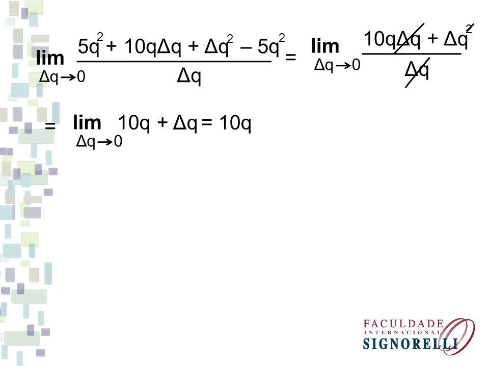 lim 10qΔq + Δq Δq lim 5q + 10qΔq + Δq – 5q Δq = = lim 10q + Δq = 10q