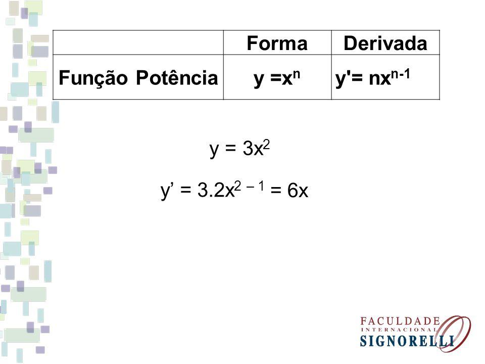Forma Derivada Função Potência y =xn y = nxn-1 y = 3x2 y' = 3.2x2 – 1 = 6x