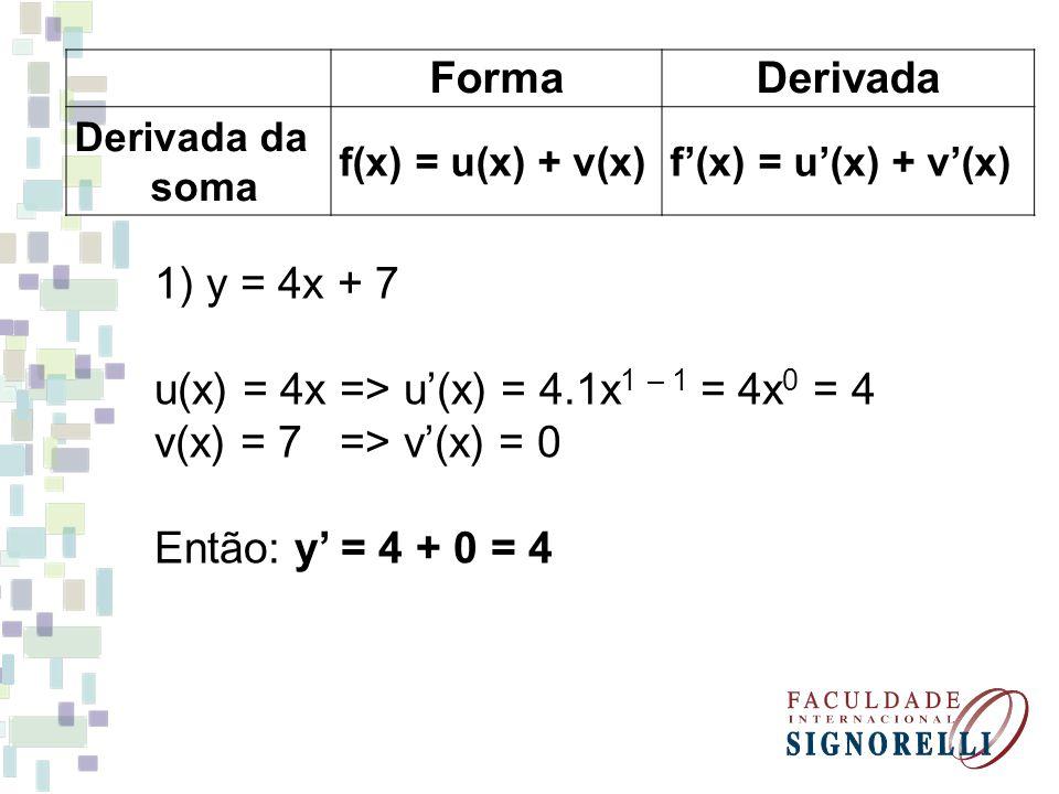 u(x) = 4x => u'(x) = 4.1x1 – 1 = 4x0 = 4 v(x) = 7 => v'(x) = 0
