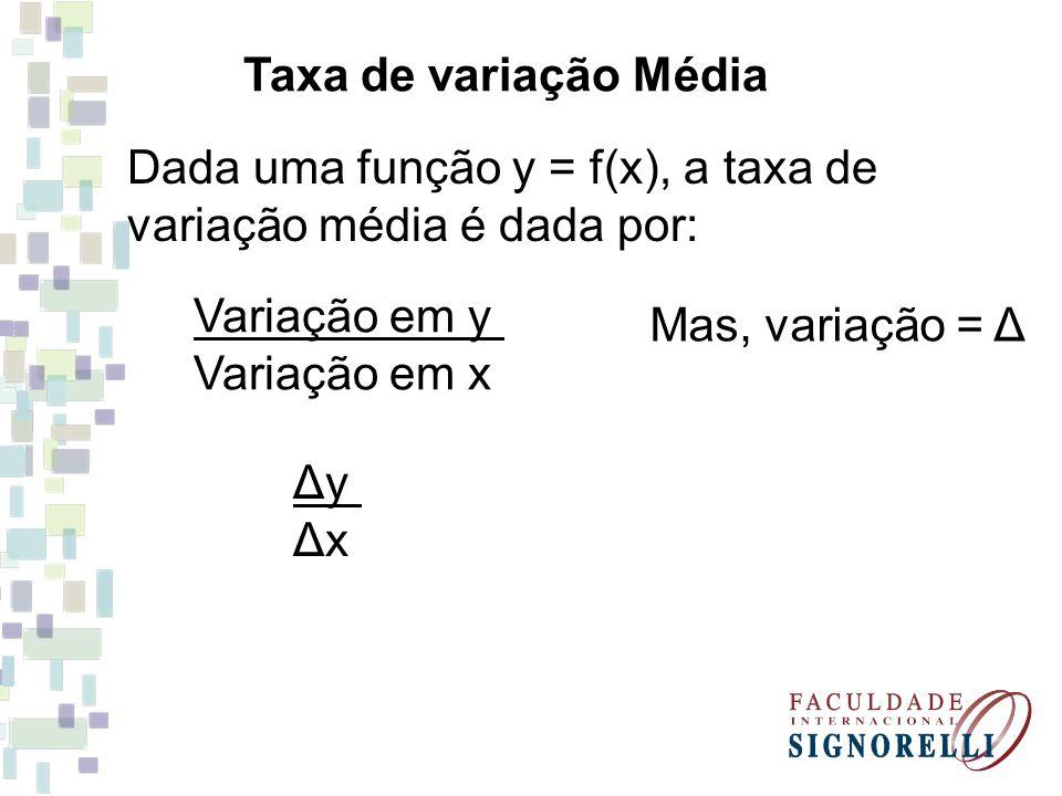 Taxa de variação Média Dada uma função y = f(x), a taxa de. variação média é dada por: Variação em y.