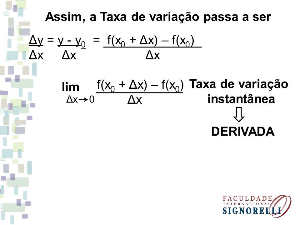 Assim, a Taxa de variação passa a ser