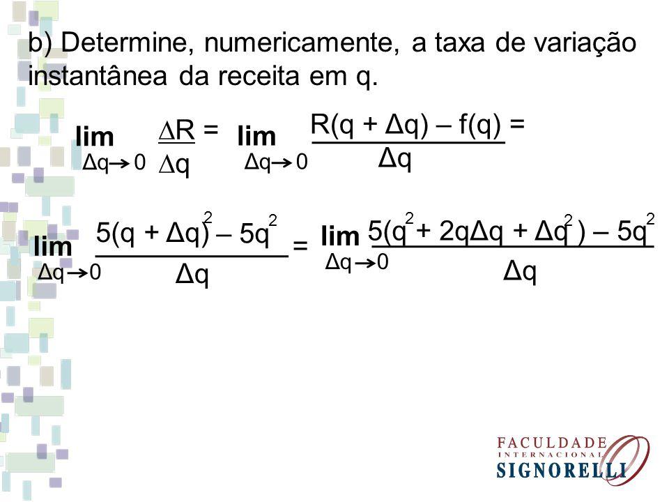b) Determine, numericamente, a taxa de variação instantânea da receita em q.