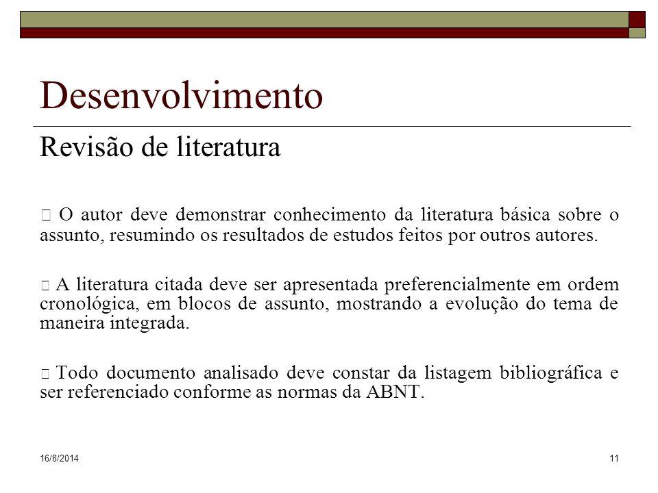 Desenvolvimento Revisão de literatura