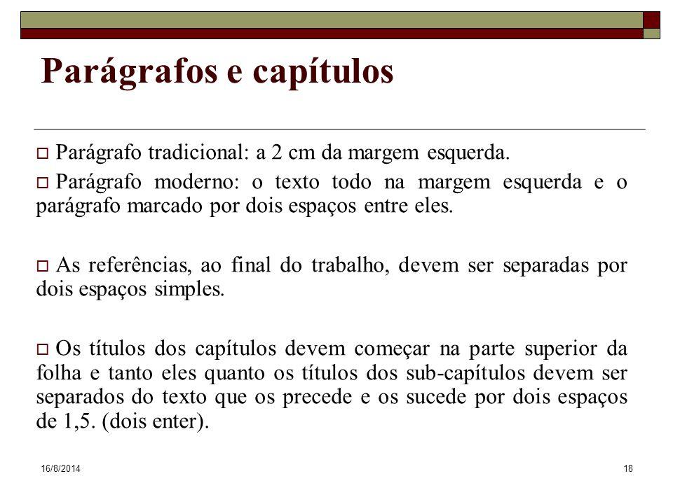 Parágrafos e capítulos