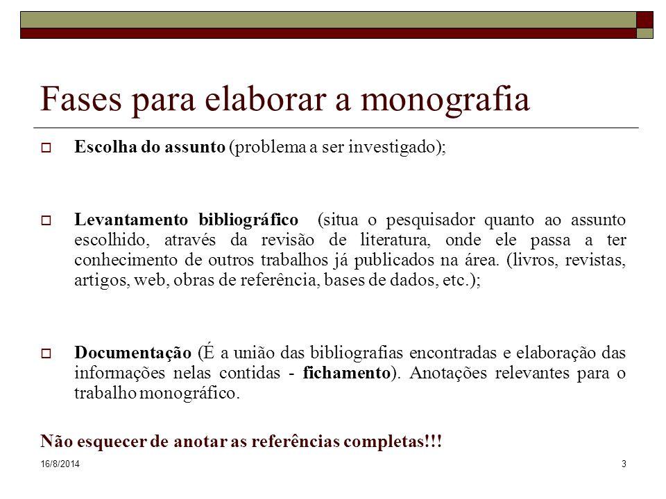 Fases para elaborar a monografia