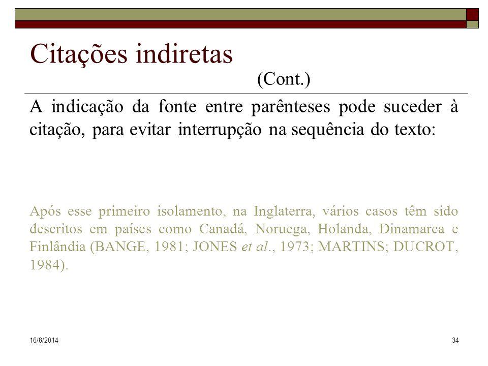 Citações indiretas (Cont.)