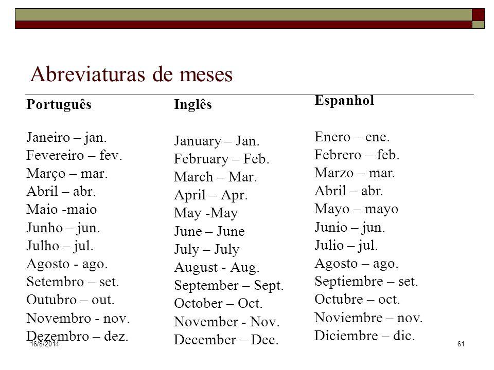Abreviaturas de meses Espanhol Enero – ene. Febrero – feb.