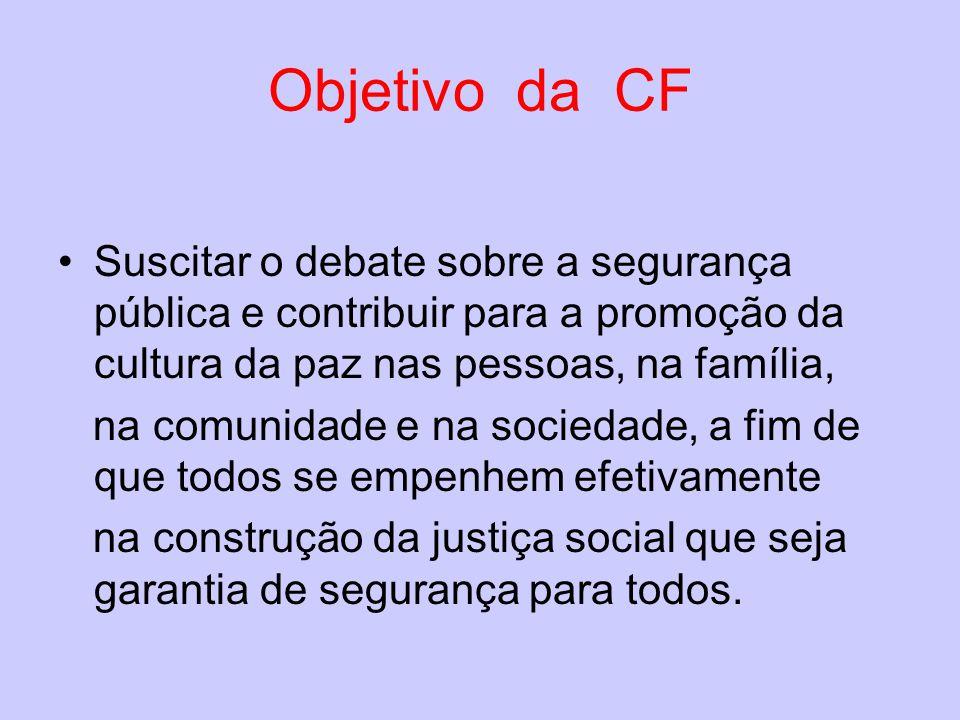 Objetivo da CF Suscitar o debate sobre a segurança pública e contribuir para a promoção da cultura da paz nas pessoas, na família,
