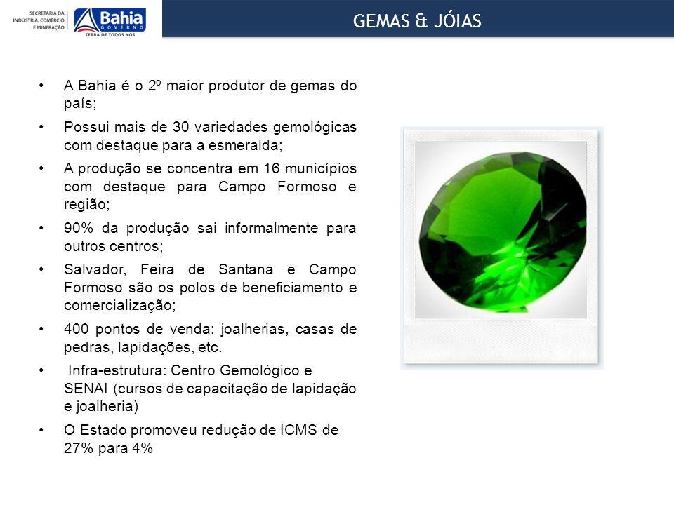 GEMAS & JÓIAS A Bahia é o 2º maior produtor de gemas do país;