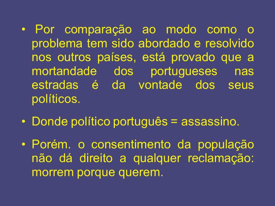 Por comparação ao modo como o problema tem sido abordado e resolvido nos outros países, está provado que a mortandade dos portugueses nas estradas é da vontade dos seus políticos.