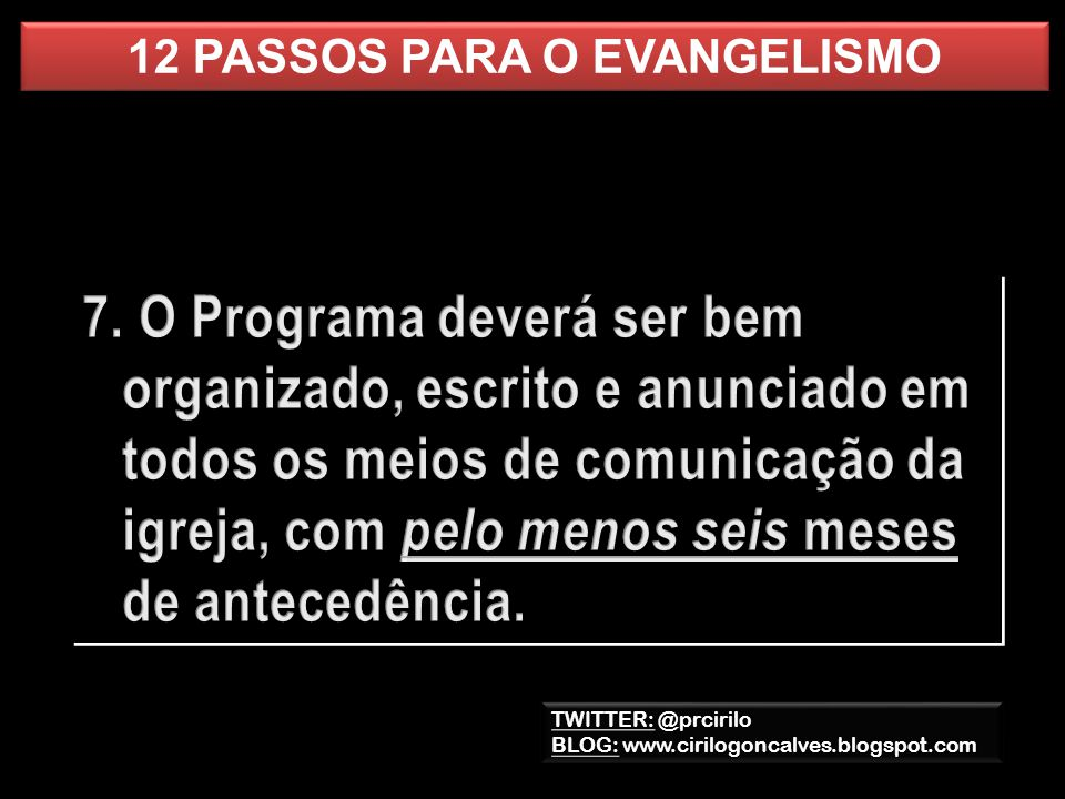 12 PASSOS PARA O EVANGELISMO